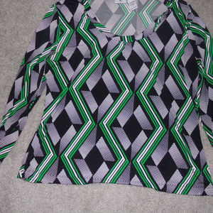 worthington womens xl black and green dressy blous